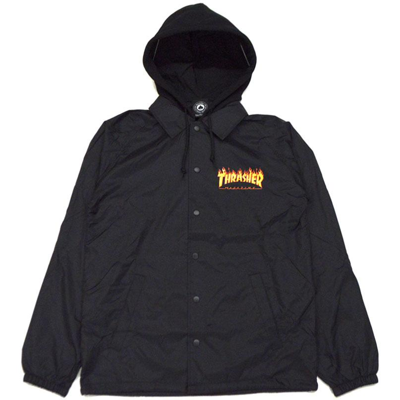 THRASHER Куртка Thrasher Flame Logo Coach Jacket With Fleece Hoodie Black L thrasher футболка thrasher flame logo white xl