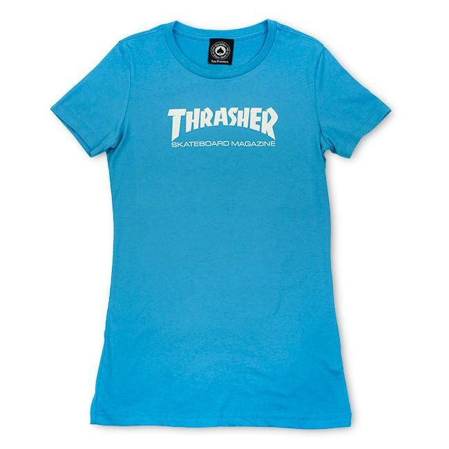 THRASHER Футболка Girls Thrasher Mag Logo Short Sleeve Teal Blue L thrasher футболка thrasher flame logo white xl