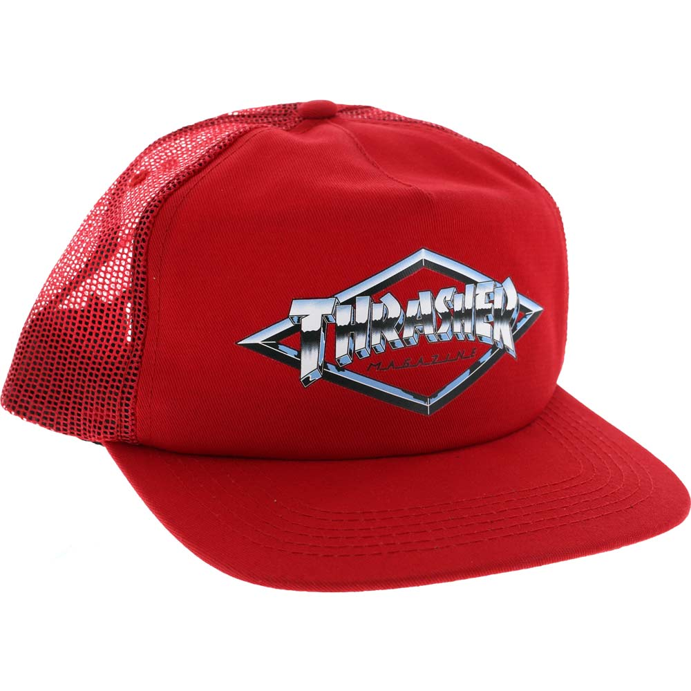 THRASHER Бейсболка Thrasher Diamond Emblem Trucker Hat RED One size цена
