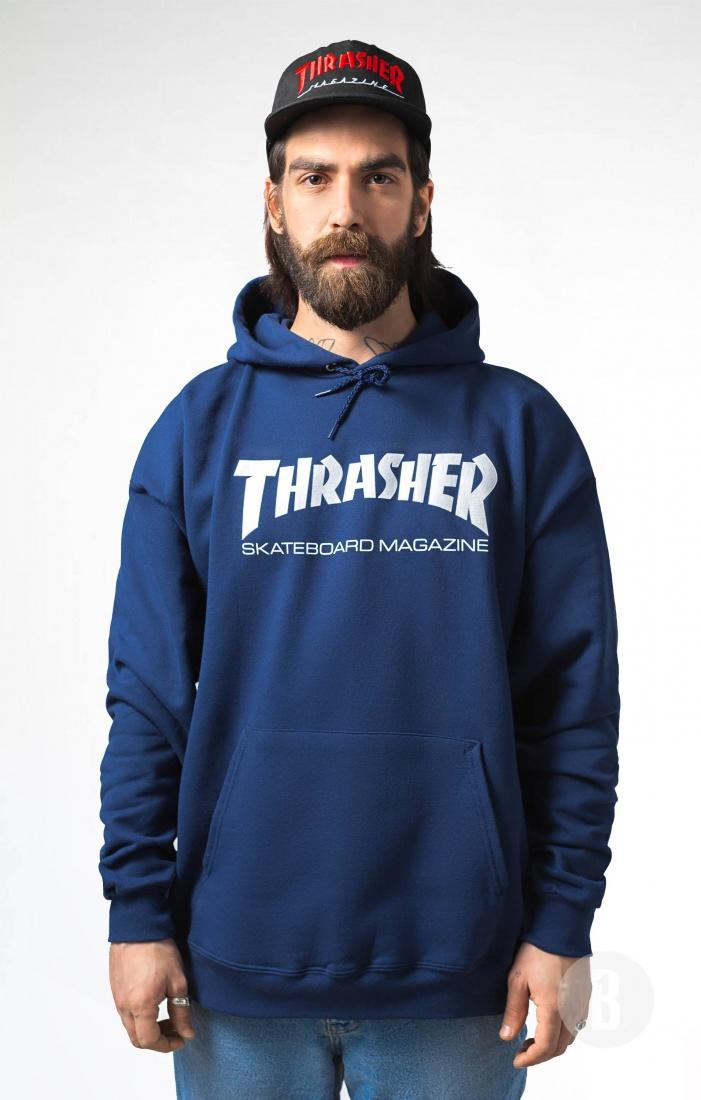 THRASHER Толстовка Thrasher Skate Mag Navy/Blue S thrasher бейсболка thrasher skategoat mesh black grey