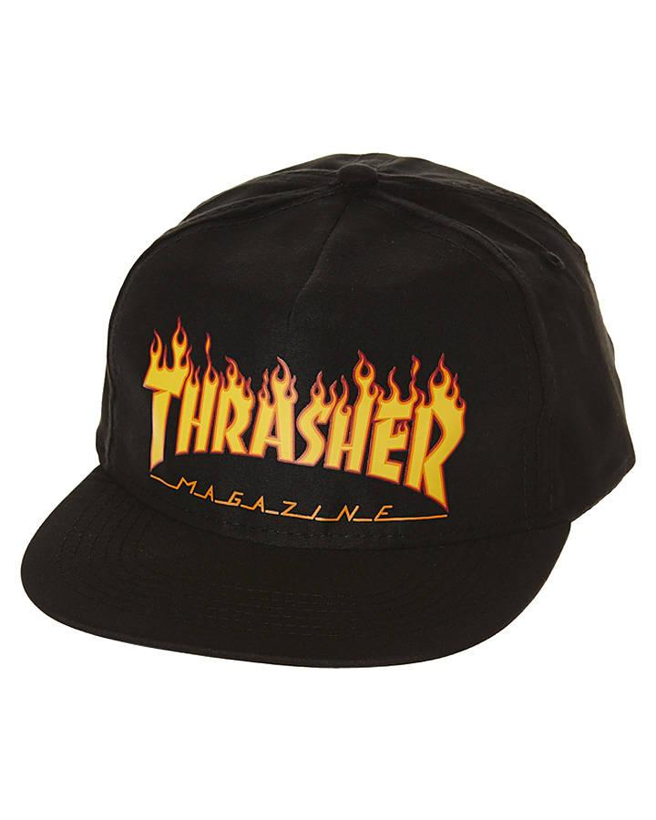 THRASHER Бейсболка Thrasher Flame Black thrasher бейсболка thrasher skategoat mesh black grey