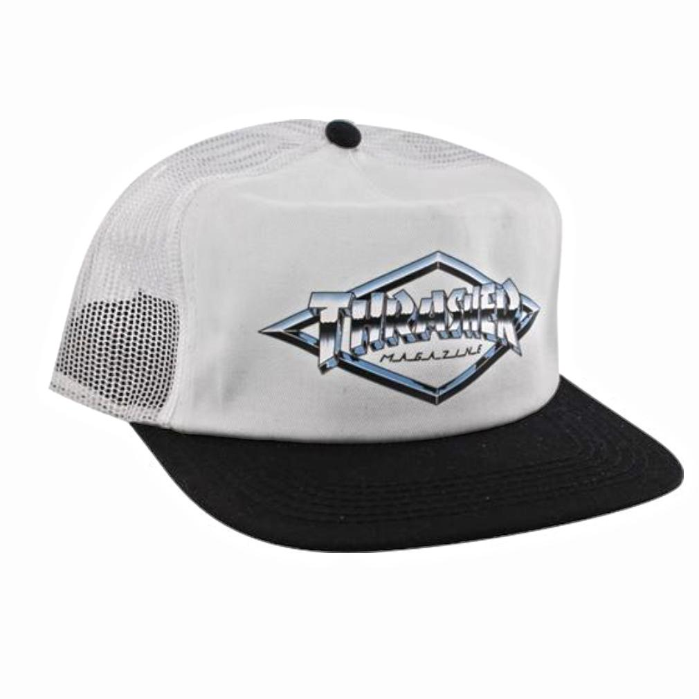 THRASHER Бейсболка Thrasher Diamond Emblem Trucker Hat White/Black thrasher бейсболка thrasher skategoat mesh black grey