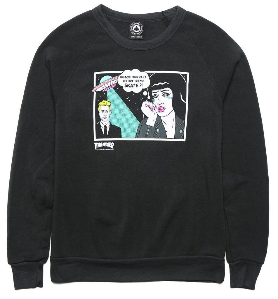 THRASHER Толстовка Thrasher Girls Alien Boyfriend Crewneck Black S