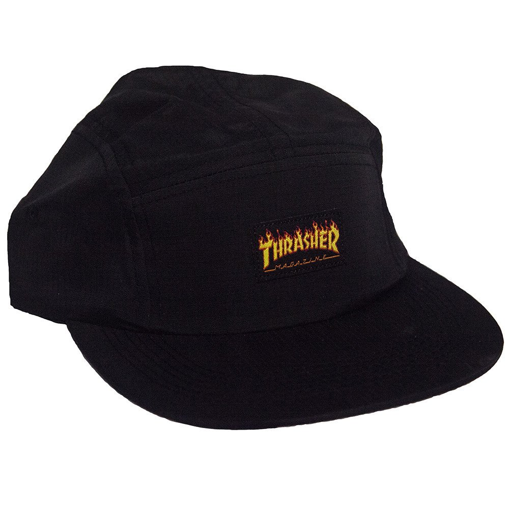 THRASHER Бейсболка Thrasher Flame Logo 5-Panel Hat Black thrasher бейсболка thrasher skategoat mesh black grey