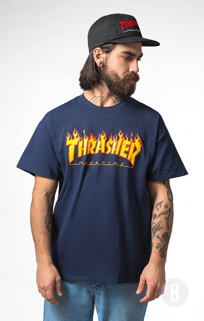 THRASHER Футболка Thrasher Flame Logo Navy Blue XL thrasher футболка thrasher flame logo long sleeve black s