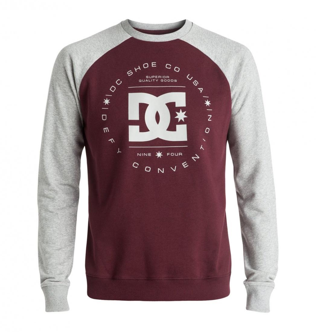 DC SHOES ДЖЕМПЕР DC REBUILT RAGLAN M OTLR XSSR МУЖСКОЙ GREY HEATHER/WINDSOR WINE XL рубашка в клетку dc woodale deep dyed heather grey