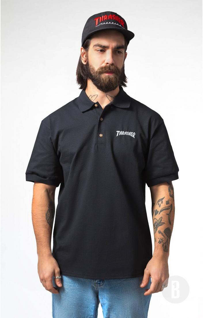 THRASHER Поло Thrasher Polo Logo Embroidered Black M монитор 21 5 hp vh22 черный tn 1920x1080 250 cd m^2 5 ms dvi vga displayport x0n05aa