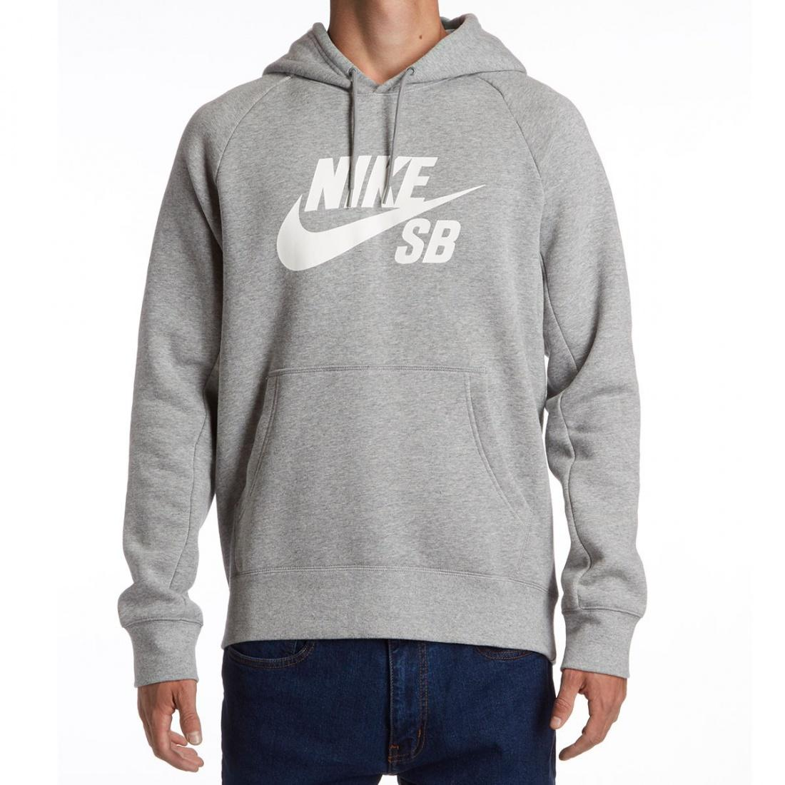 Nike SB Джемпер NIKE SB ICON PO HOODIE DK GREY HEATHER/WHITE L nike nike zoom kobe icon