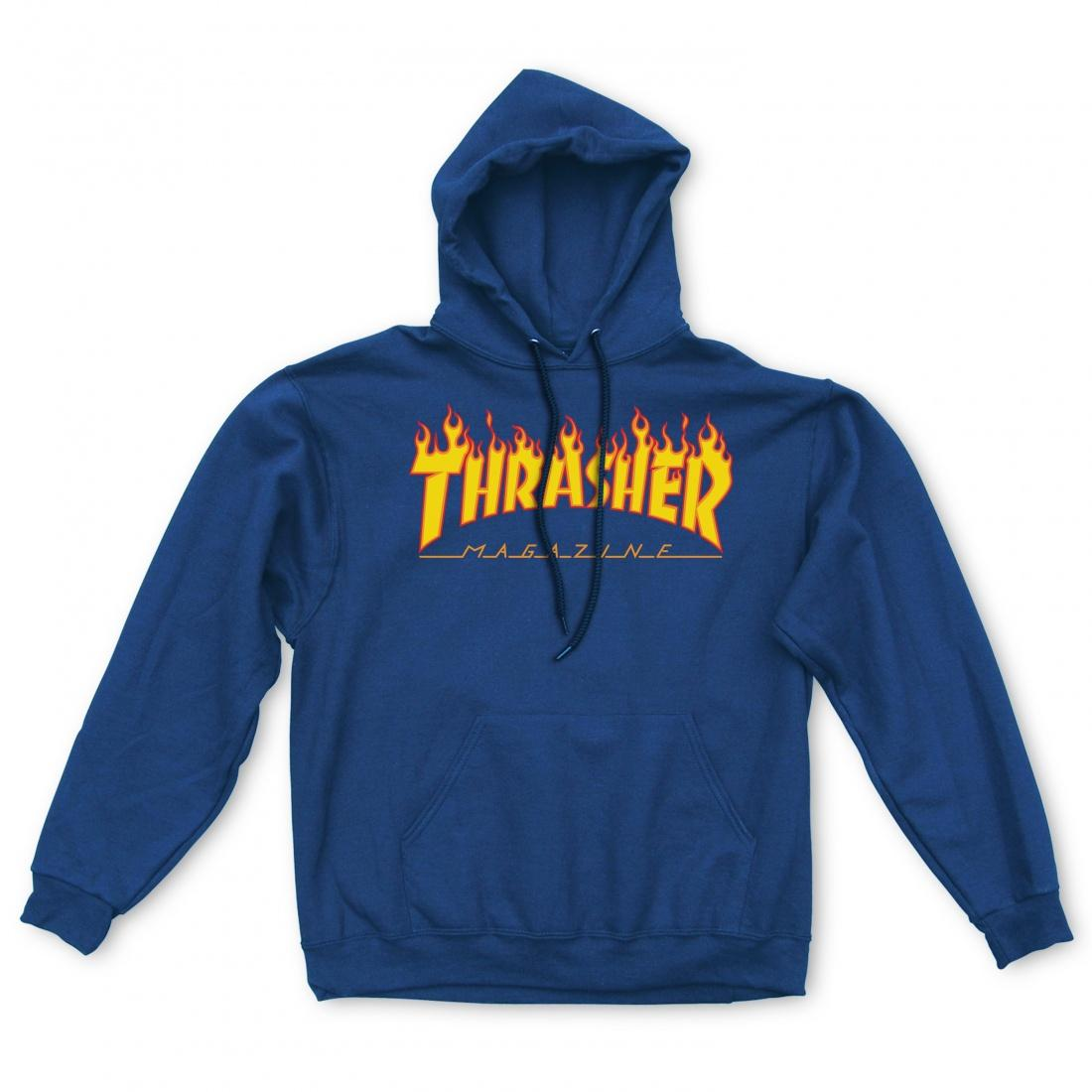 THRASHER Толстовка Thrasher Flame Logo Hood Navy Blue XL thrasher бейсболка thrasher skategoat mesh black grey