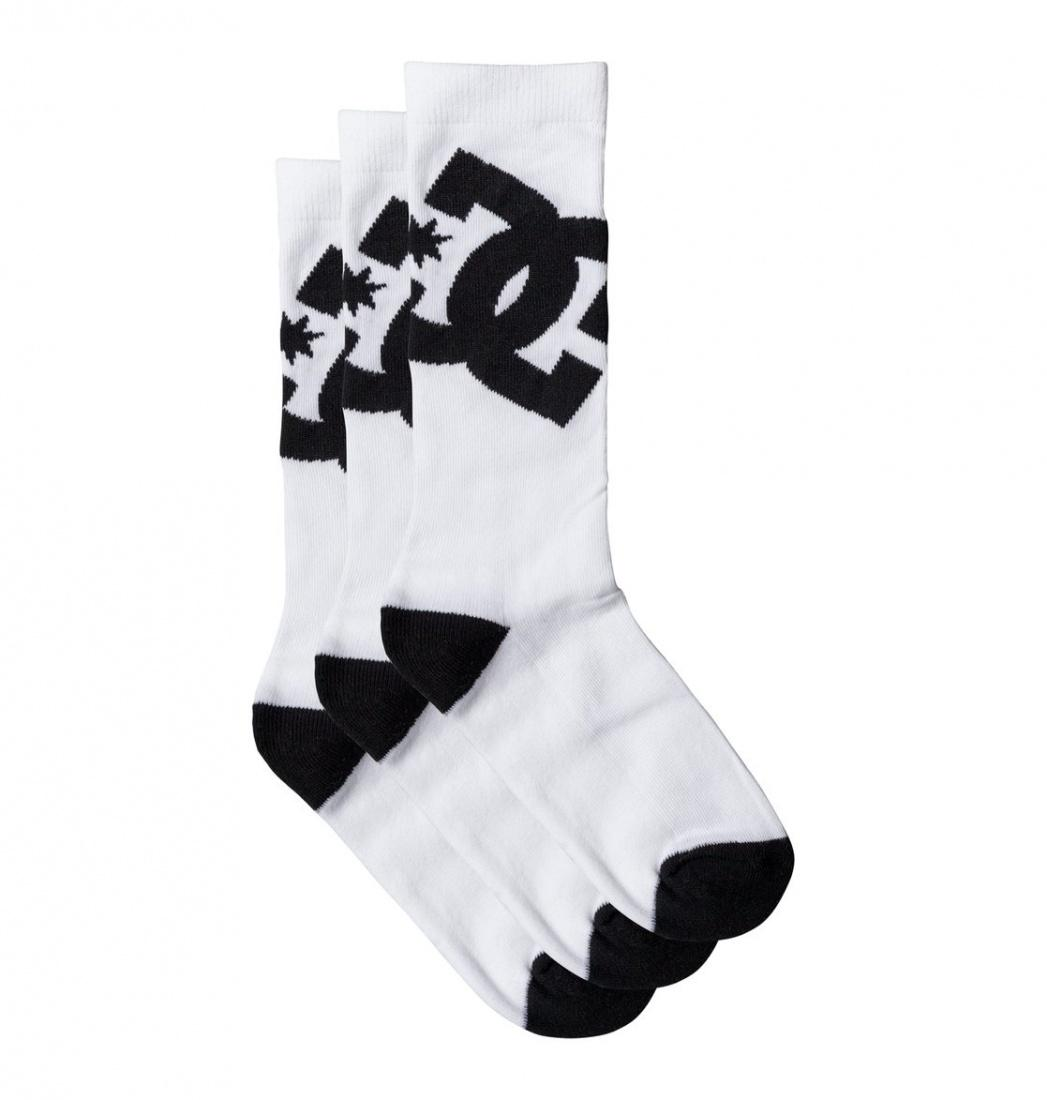 DC SHOES НОСКИ DC CREW 6 3PK M SOCK WBN0 3 ПАРЫ МУЖСКИЕ (8-10, WBN0, WHITE, , SS17) inov 8 носки all terrain sock mid l teal pink
