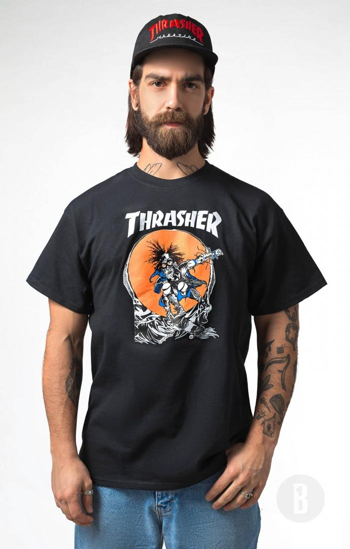 THRASHER Футболка Thrasher Skate Outlaw Black L thrasher бейсболка thrasher skategoat mesh black grey