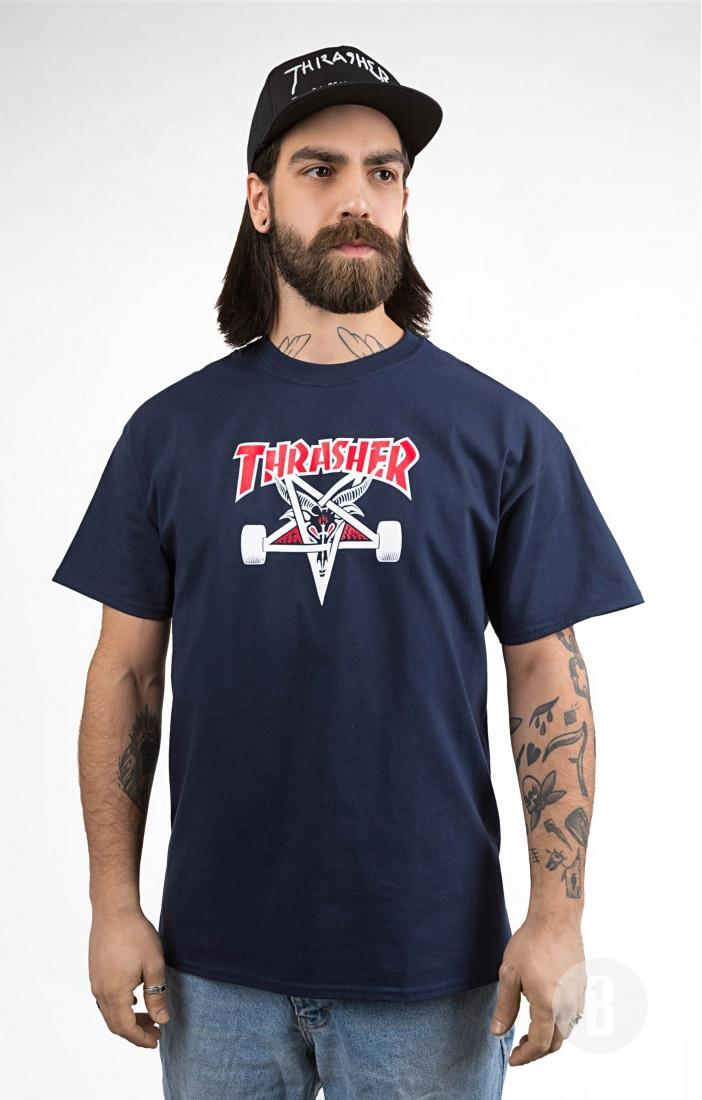 THRASHER Футболка Thrasher Two Tone SK8Goat Navy Blue XL charter club new navy blue women s size 14 seamed two pocket cargo shorts $40