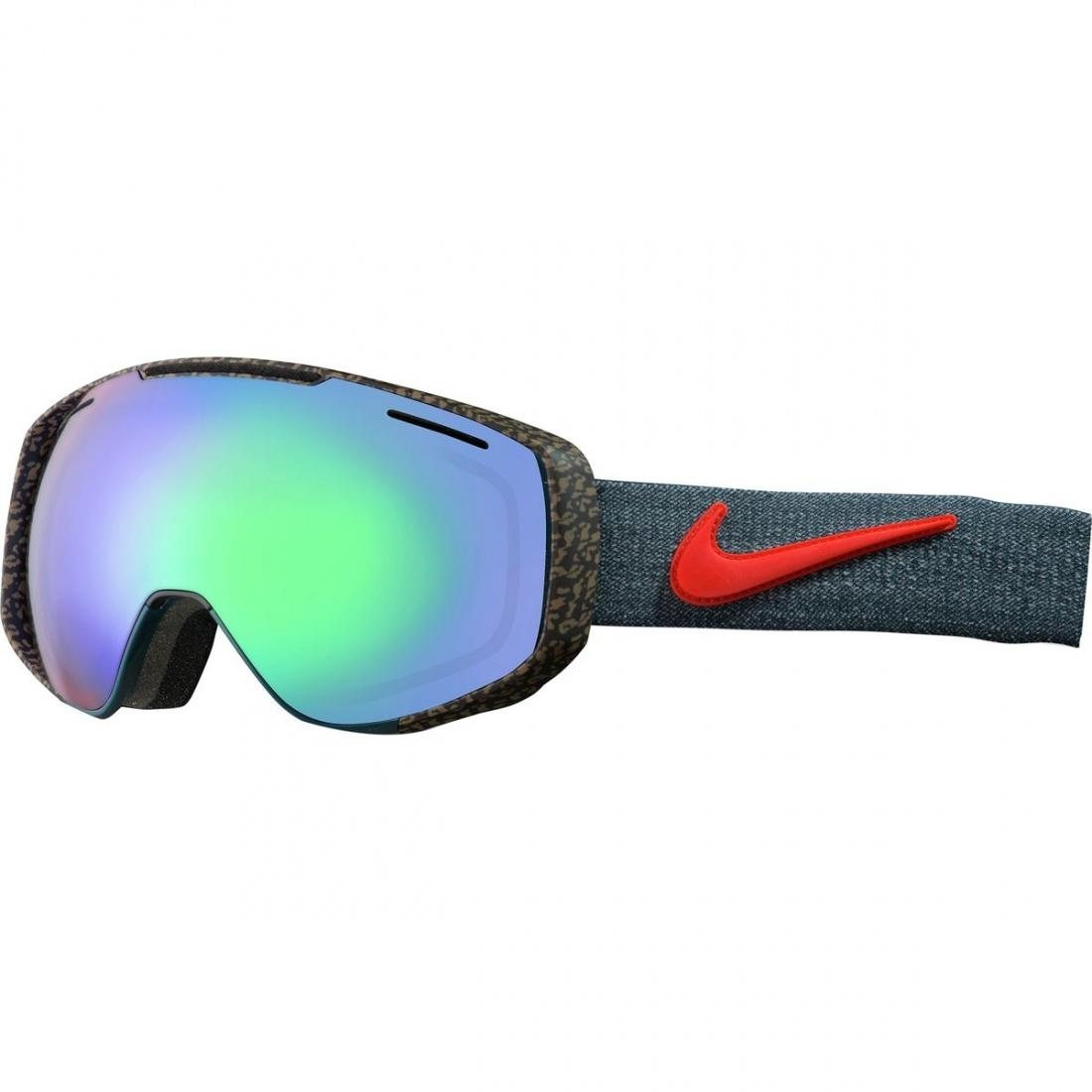 Маска сноубордическая Nike Khyber Midnight Turq-Bright Crimson/Green Ion+Yellow R, , ,