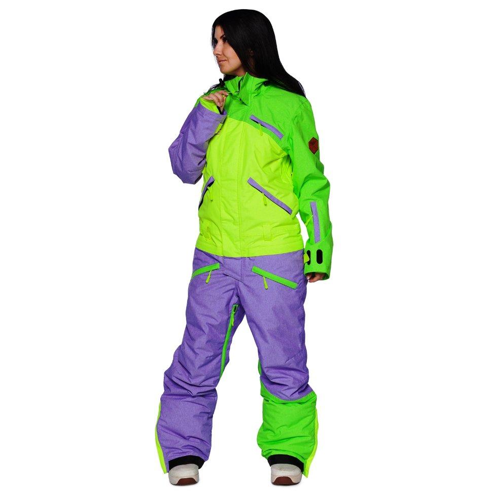 Сноубордический комбинезон Cool Zone 18 Mix 3514М27М Лайм-салат-фиолет меланж M